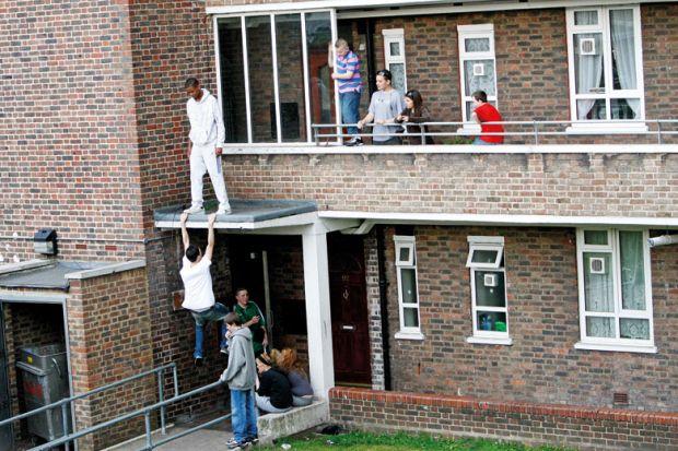 Children playing on UK council housing development