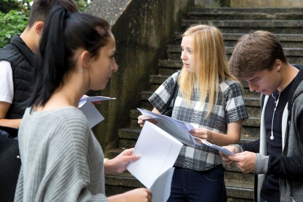 College students receiving exam results