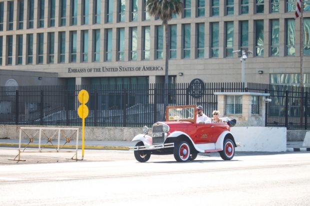 Havana - CUB; February 24, 2019 Building of the United States Embassy in Havana. This building is the main place for diplomatic relations between Cuba and the United States.
