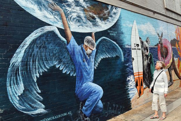 Mural of a winged healthcare worker with Australian animals