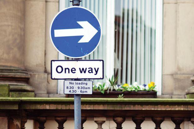 One way street road sign, United Kingdom