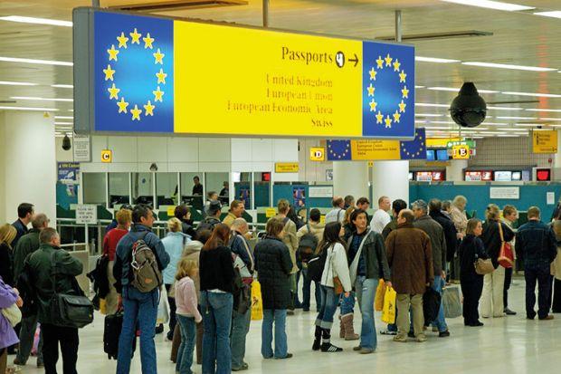 Queue for European passport holders at British airport