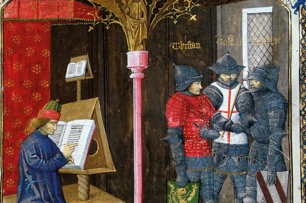 """Detail from Miniature from the """"Romance of Tristan"""" by Gilles Gracien and illuminated by Everard d'Espinques (Evrard d'Espinques), Conde Museum, Paris, France"""