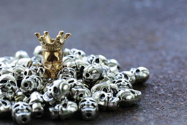 Pile of metal skulls